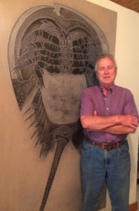 "John Acorn with ""Horseshoe Crab""."